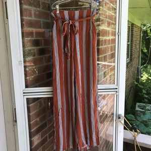 Forever 21 Orange striped belted trousers